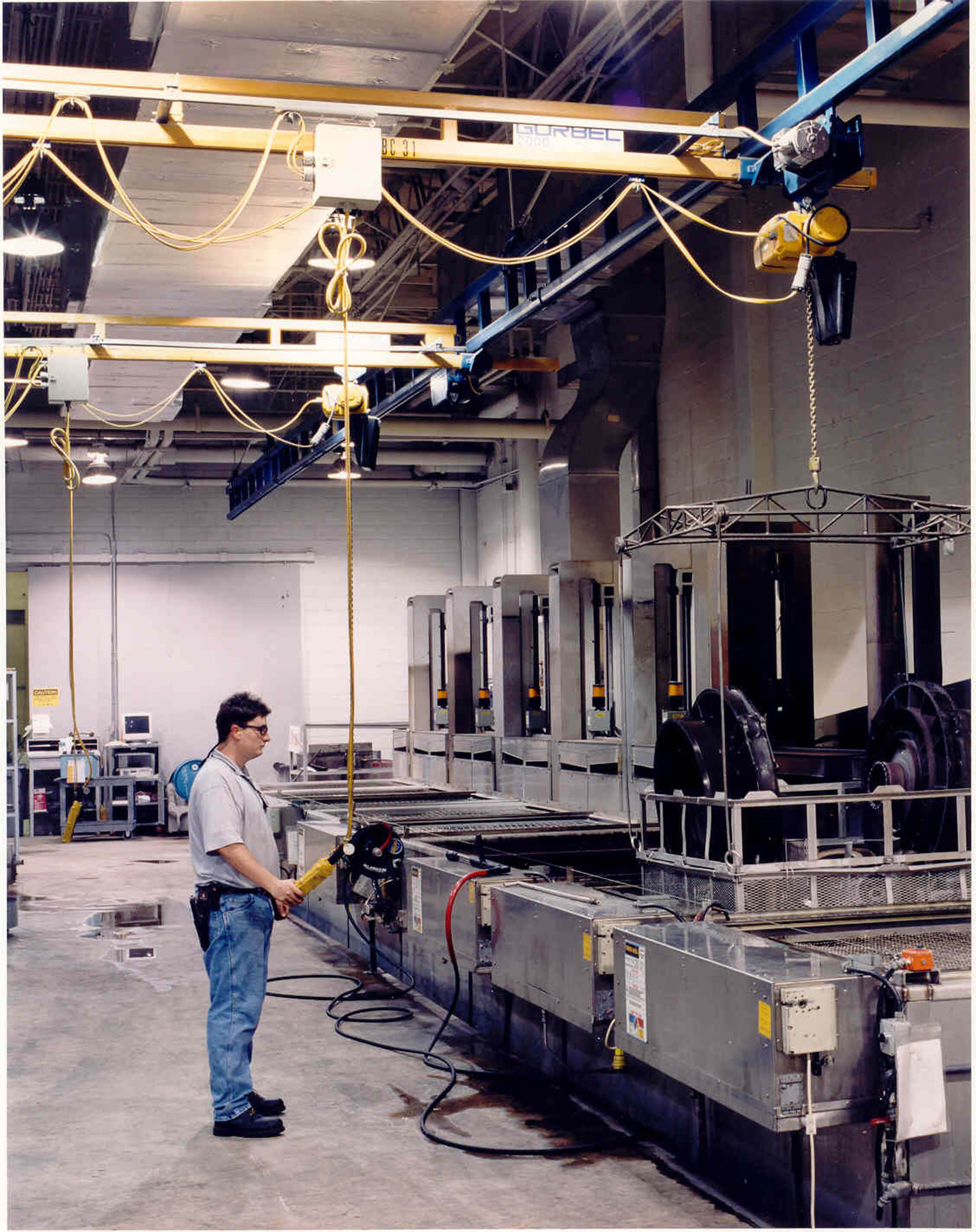 Ergonomic Assist Systems And Equipment Photos For Performing Frequent Hoist Control Suspended From Overhead Crane Enclosed Track Workstation Cranes Are Ergonomically Designed Lighter Loads 150 Lbs To 4000 Capacities Horizontal Movement Is Usually Push