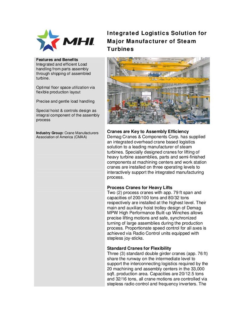 Integrated Logistics Solution for Major Manufacturer of Steam Turbines