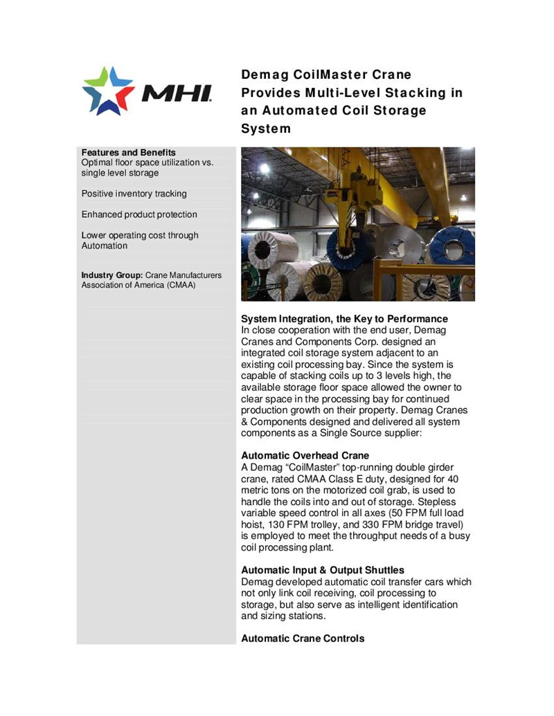 Demag CoilMaster Cranes Provides Multi-Level Stacking in an Automated Coil Storage System
