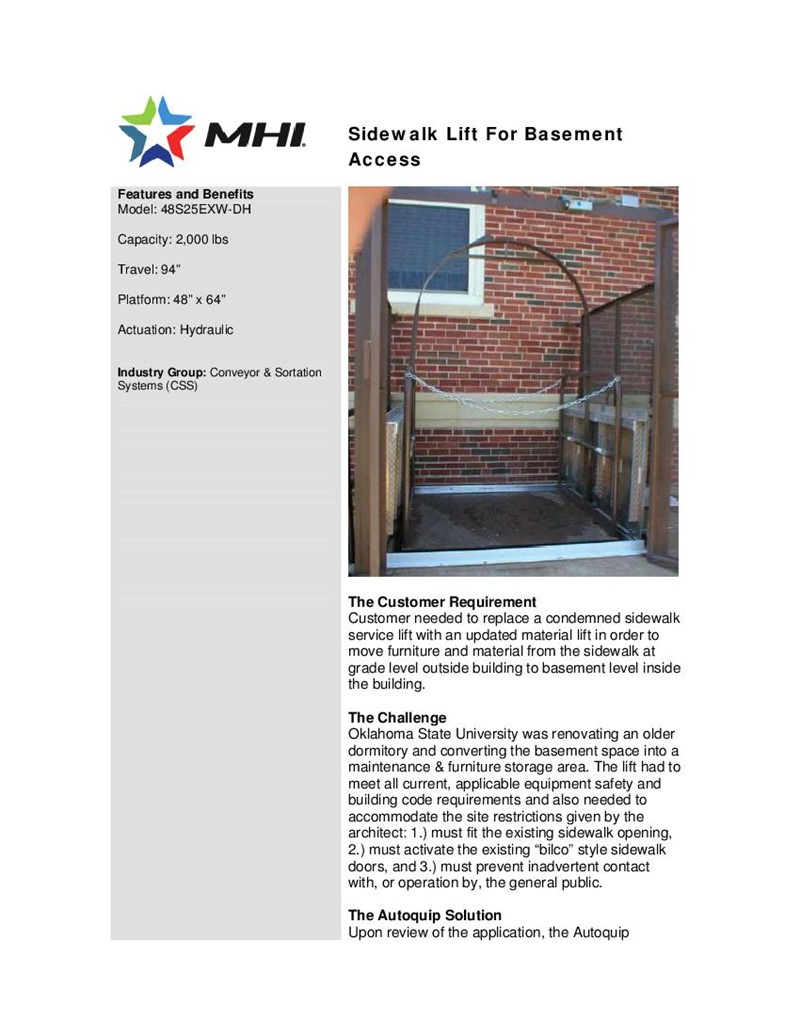 Sidewalk Lift for Basement Access