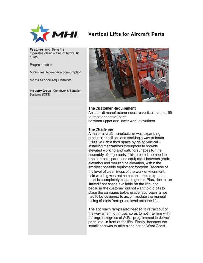 Vertical Lifts for Aircraft Parts