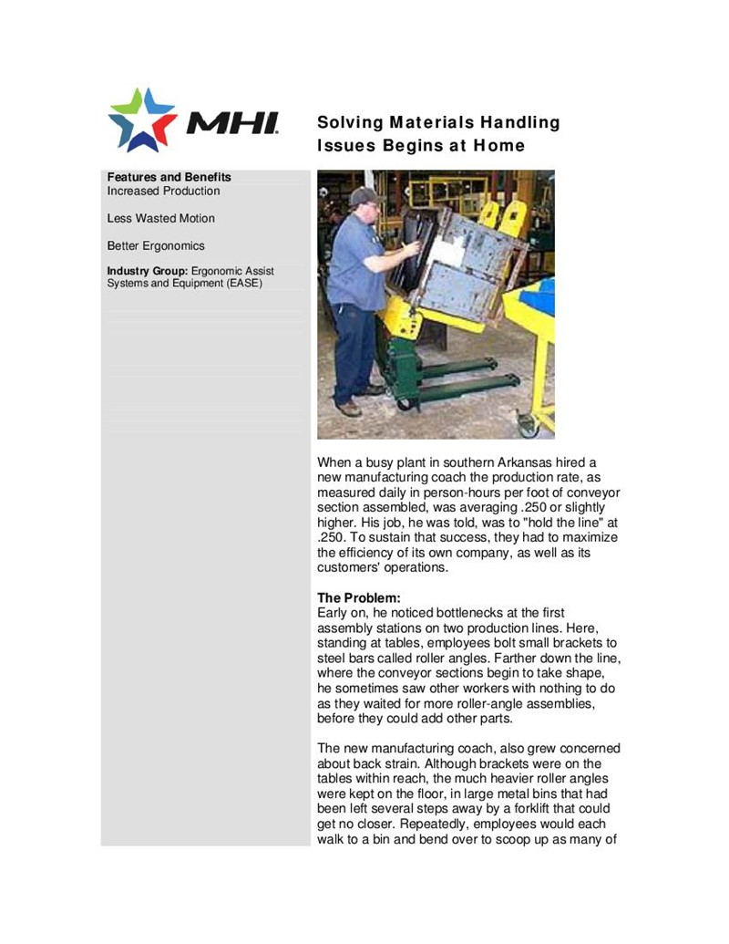 Solving Materials Handling Issues Begins at Home