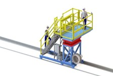 Fixed Rail-Elevating Work Platform Shuttles and Slides