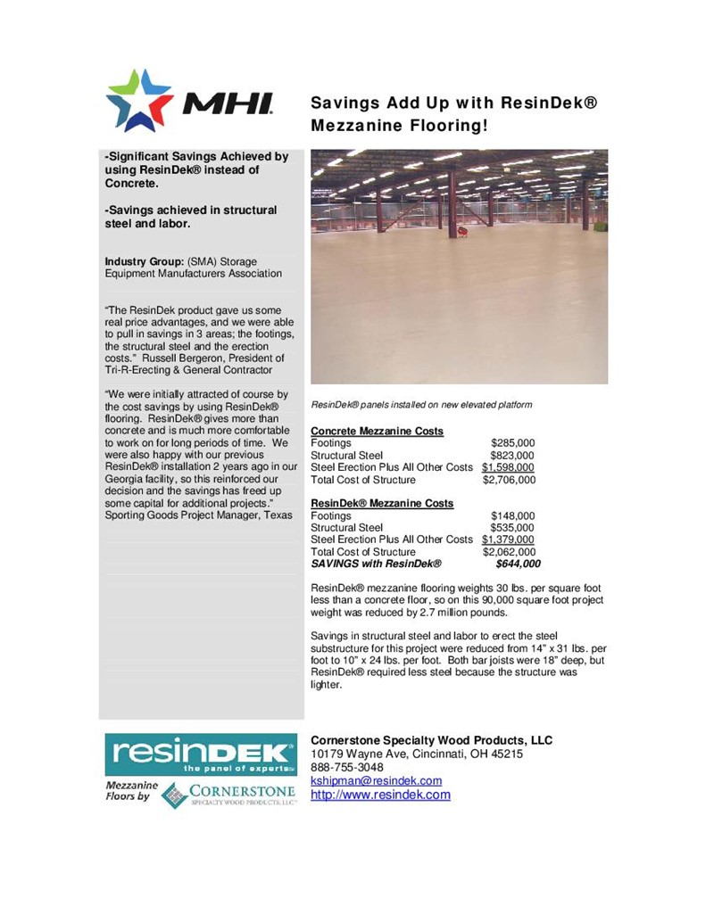 Savings Add Up With Resindek Mezzanine Flooring