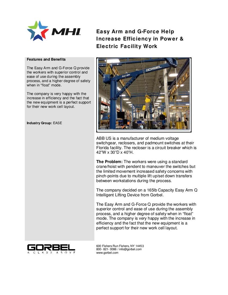 Easy Arm and G-Force Help Increase Efficiency in Power & Electric Facility Work