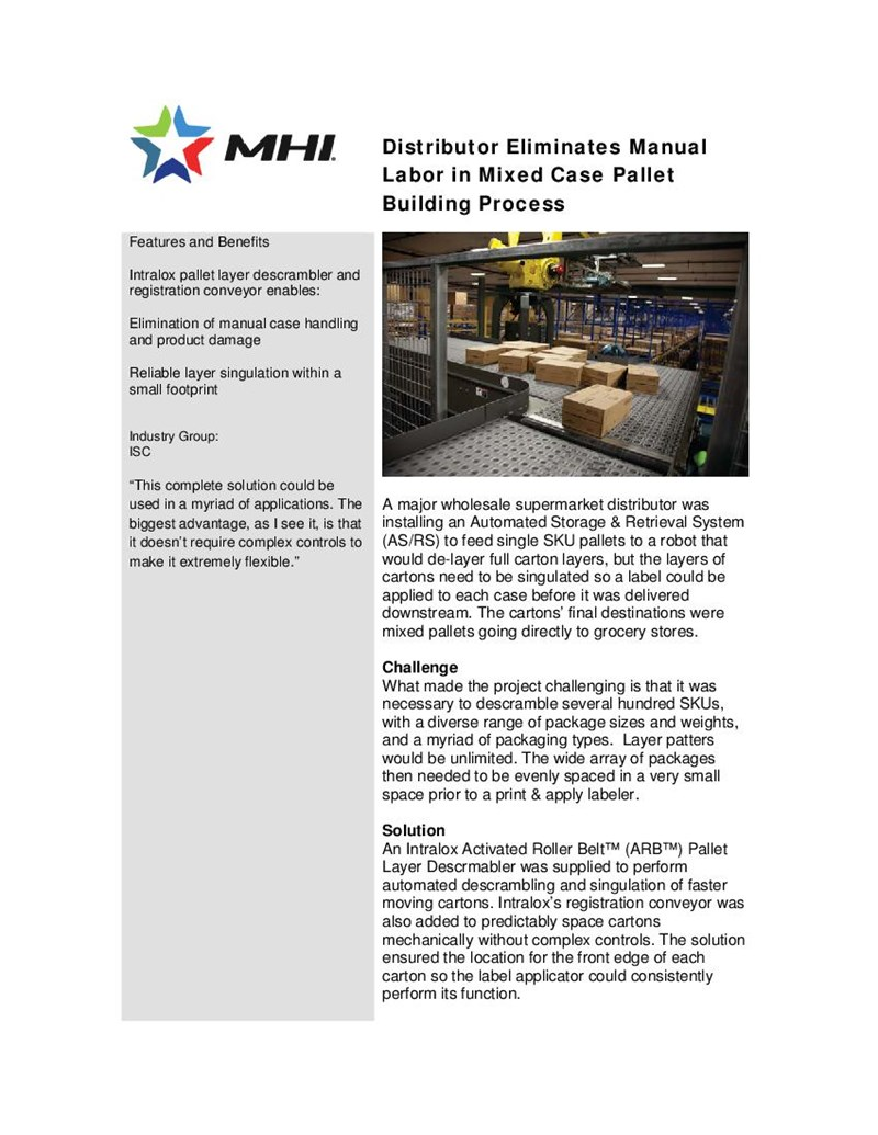 Distributor Eliminates Manual Labor in Mixed Case Pallet Building Process