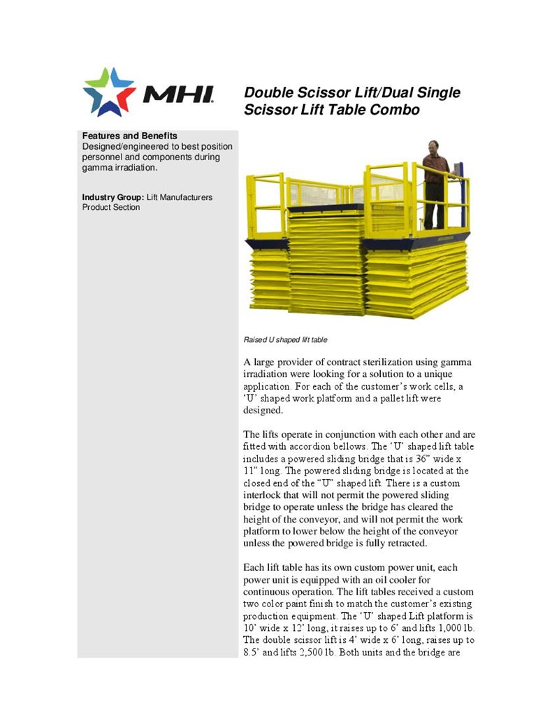 Double Scissor Lift/Dual Single Scissor Lift Table Combo