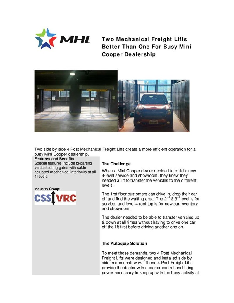 Two Mechanical Freight Lifts Better Than One For Busy Mini Cooper Dealership