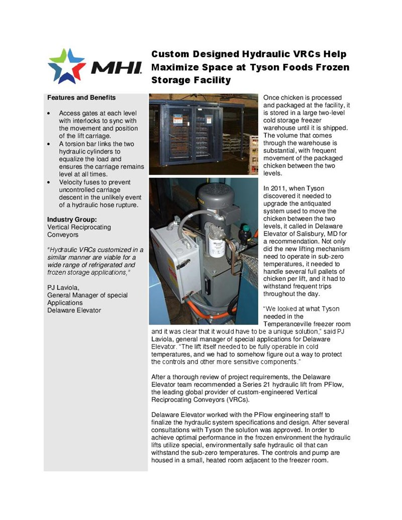 Custom Designed Hydraulic VRCs Help Maximize Space at Tyson Foods Frozen Storage Facility