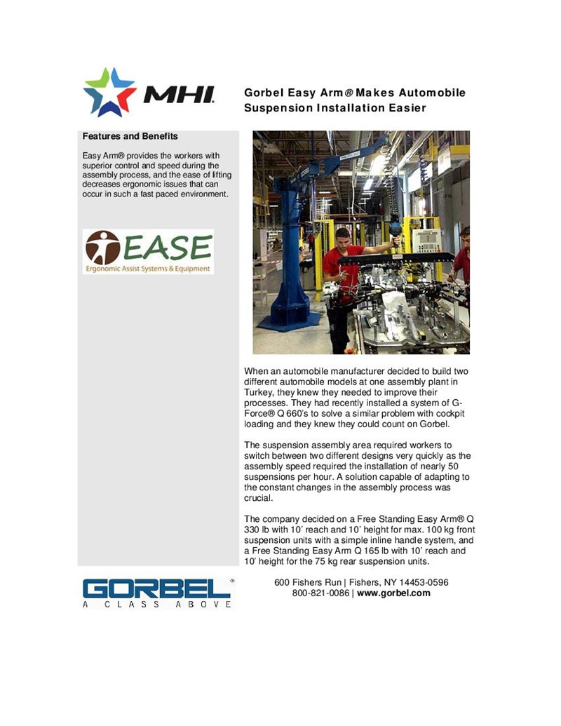 Gorbel Easy Arm® Makes Automobile Suspension Installation Easier