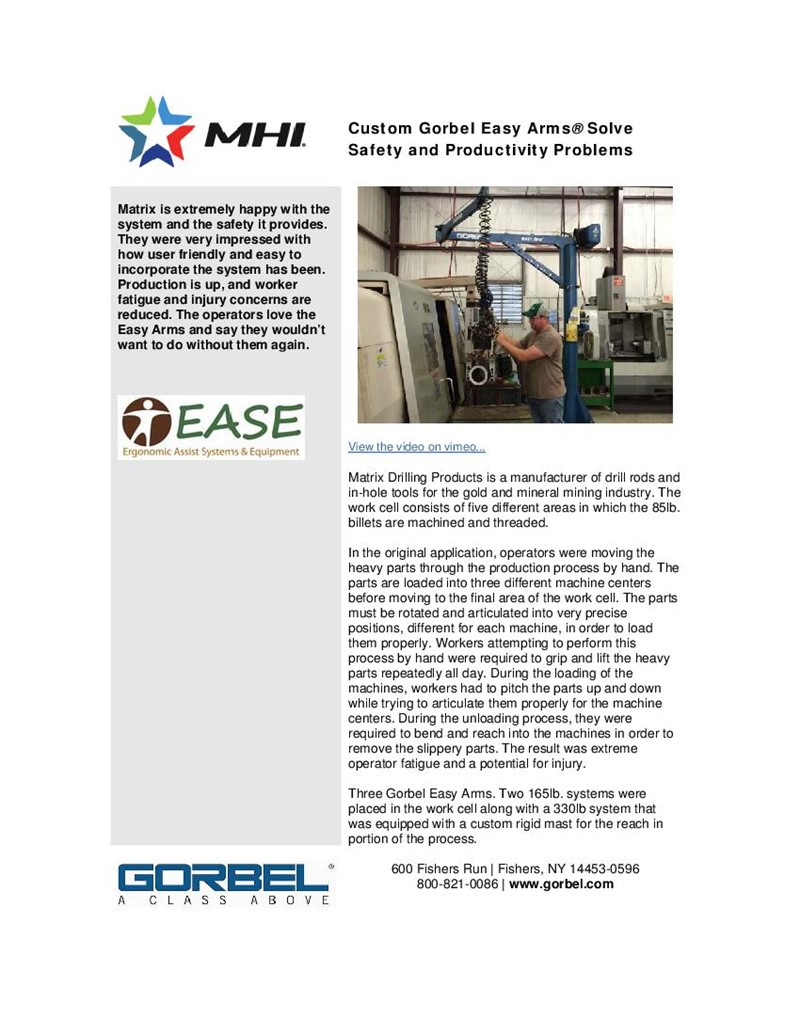 Custom Gorbel Easy Arms® Solve Safety and Productivity Problems