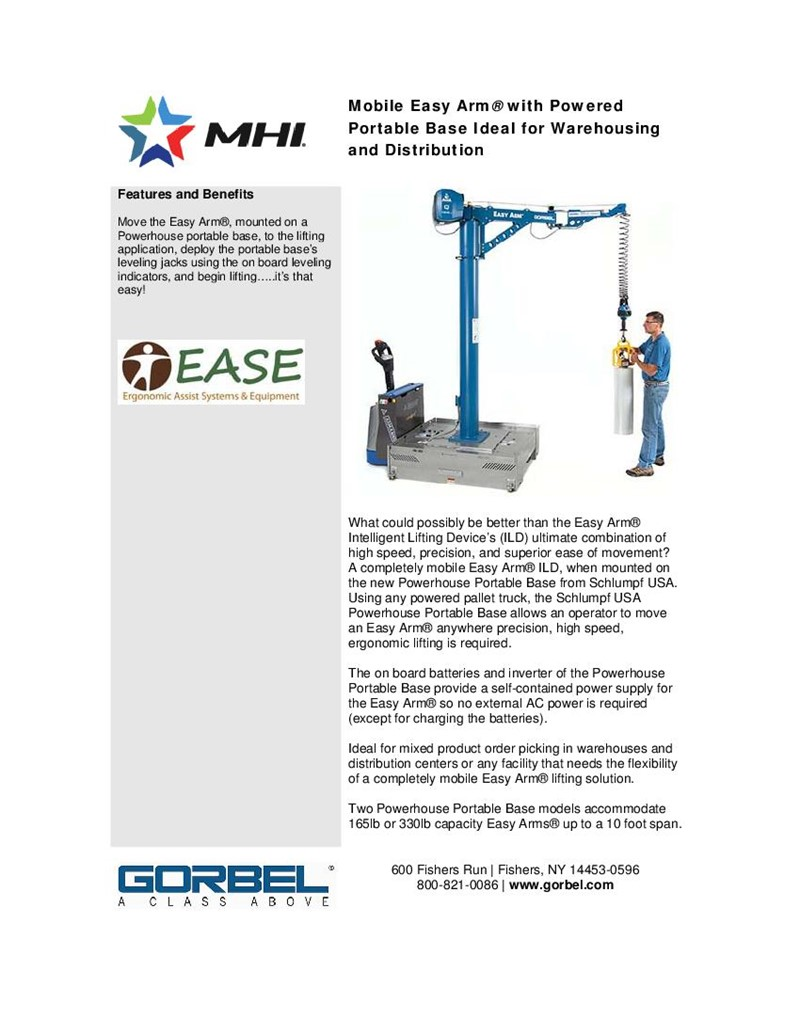 Mobile Easy Arm® with Powered Portable Base Ideal for Warehousing and Distribution