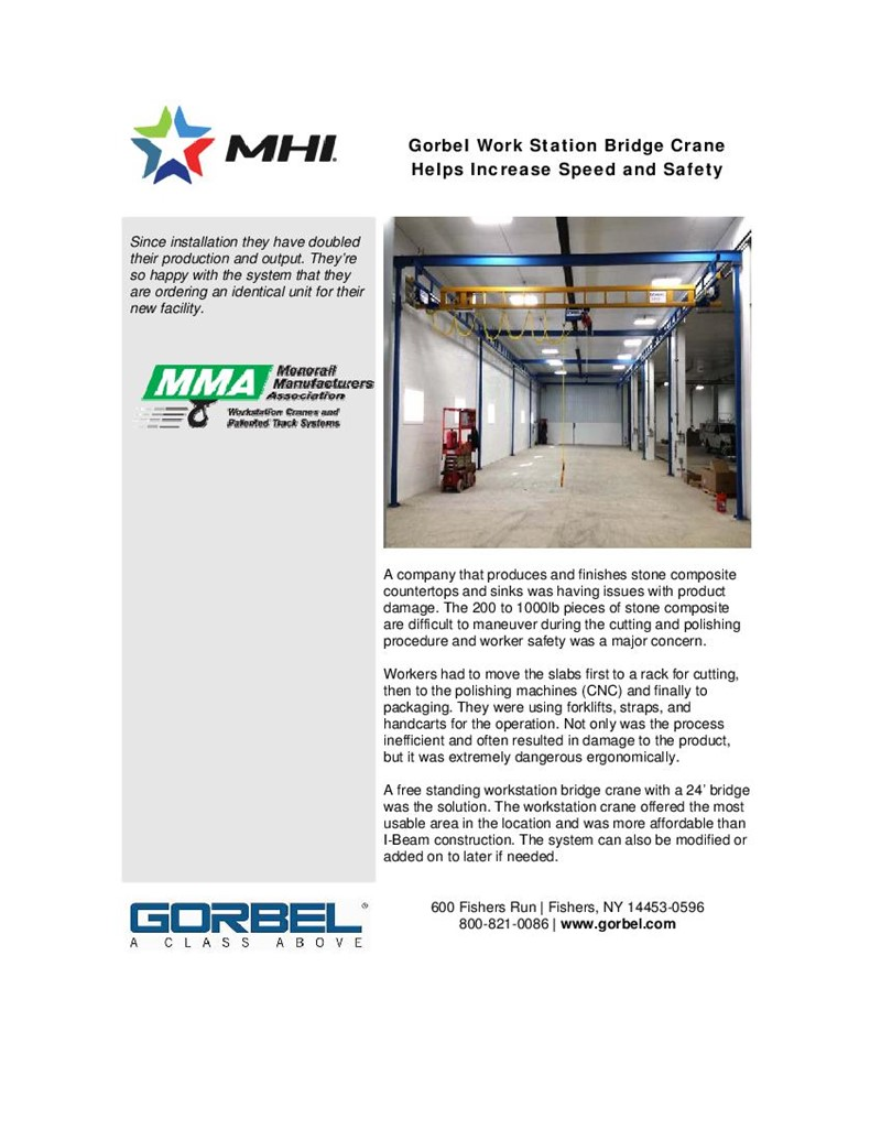 Gorbel Work Station Bridge Crane Helps Increase Speed and Safety