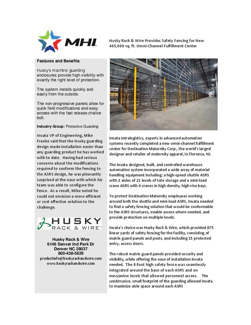 Husky Rack & Wire Provides Safety Fencing for New 465,000 sq. ft. Omni-Channel Fulfillment Center