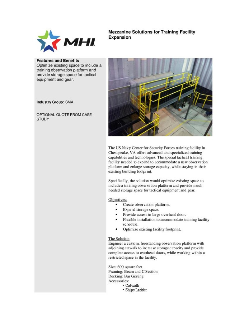 Mezzanine Solutions for Training Facility Expansion