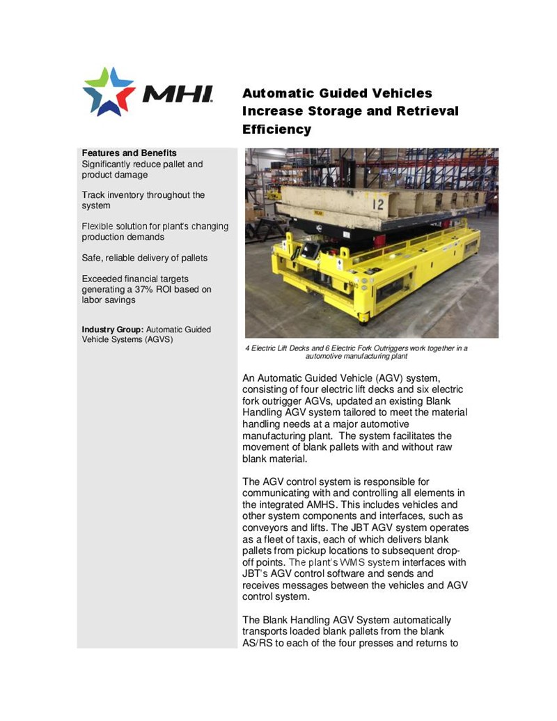 Automatic Guided Vehicles Increase Storage and Retrieval Efficiency