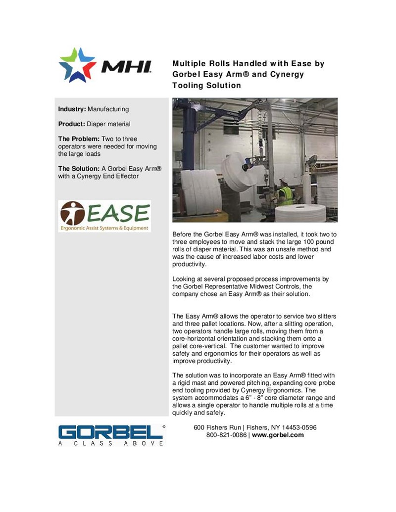 Multiple Rolls Handled with Ease by Gorbel Easy Arm® and Cynergy Tooling Solution
