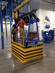 Pit Mounted Scissors Lift Improves Loading Parts To Overhead Conveyor