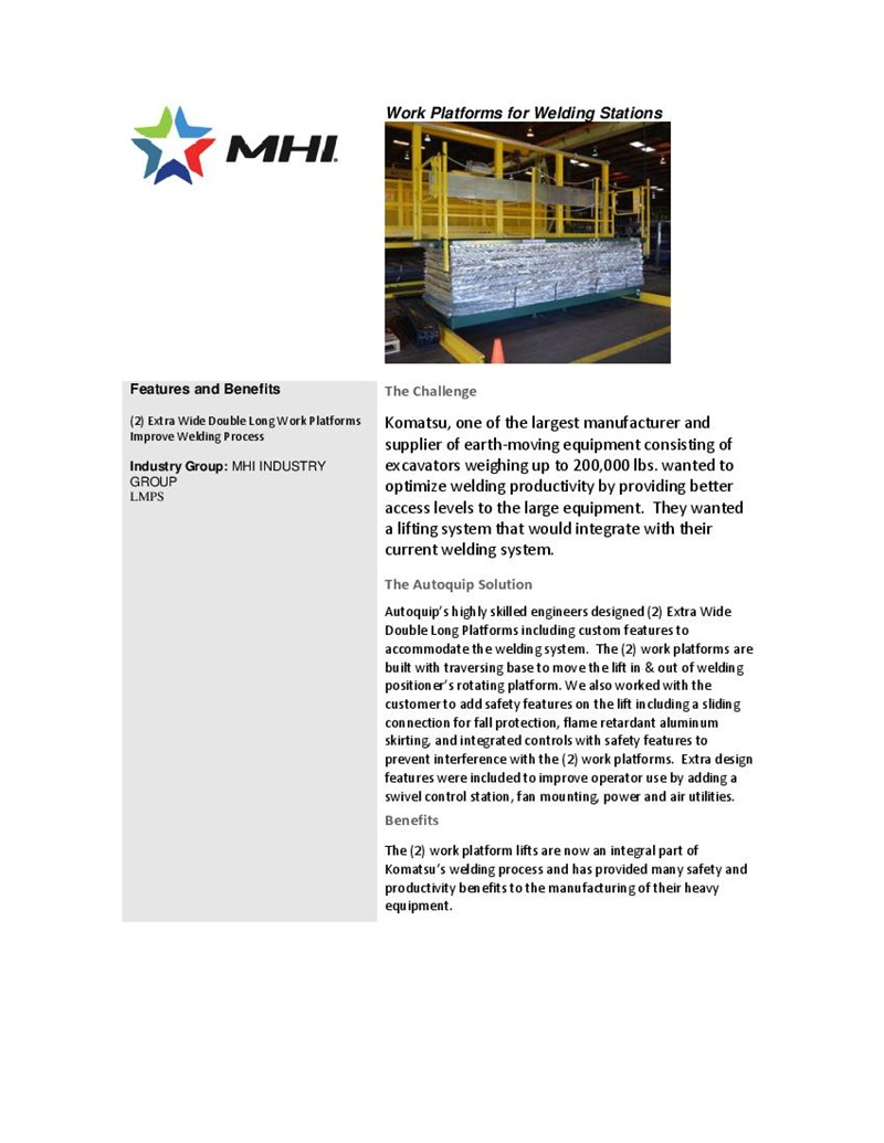 Work Platforms for Welding Stations