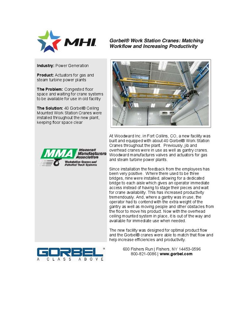 Gorbel® Work Station Cranes: Matching Workflow and Increasing Productivity