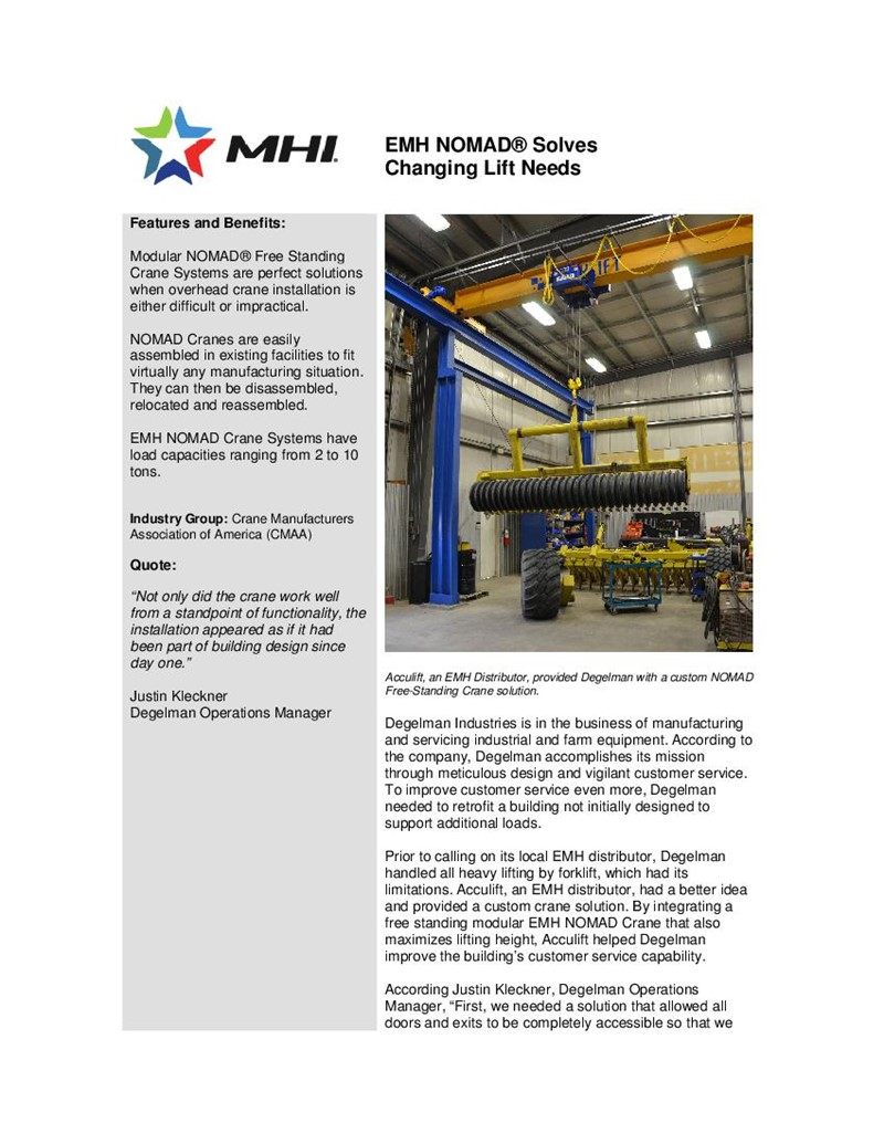 EMH NOMAD® Solves  Changing Lift Needs
