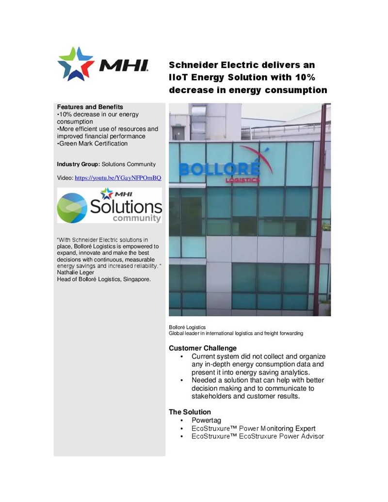 Schneider Electric delivers an IIoT Energy Solution with 10% decrease in energy consumption
