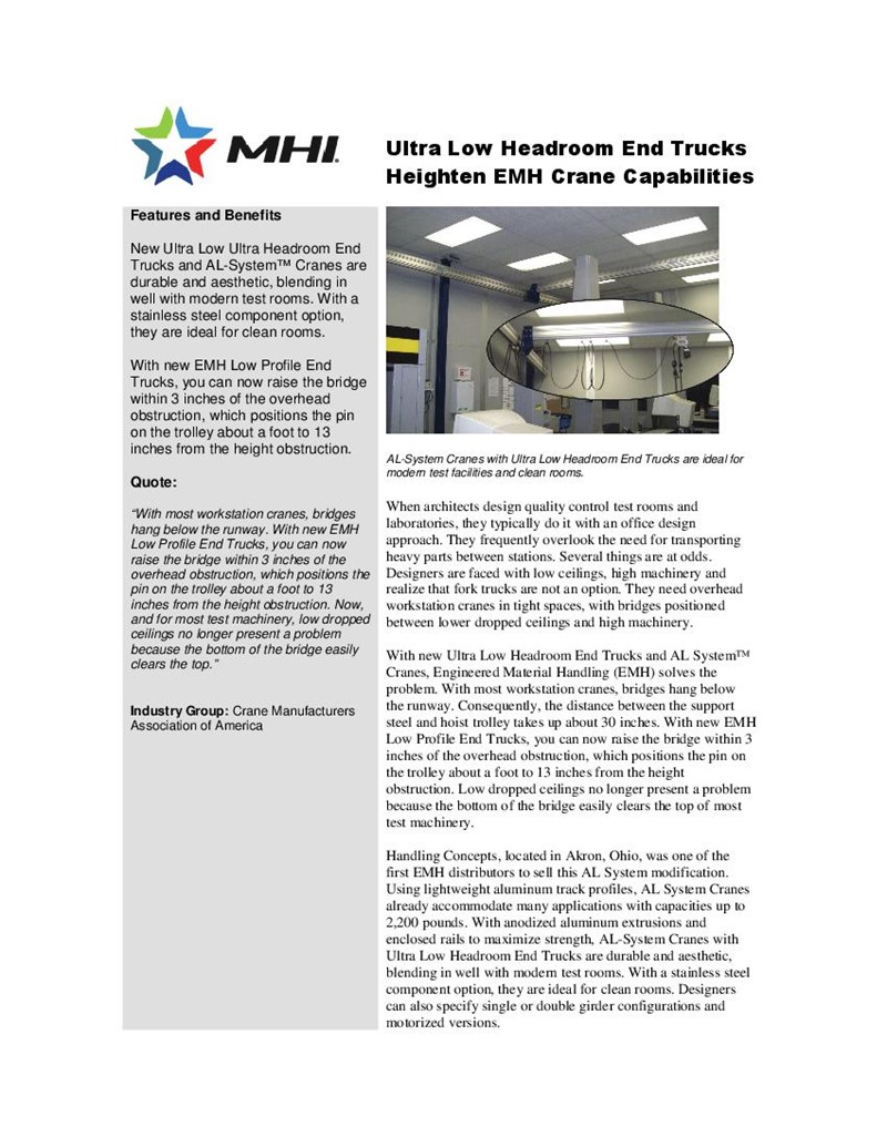 Ultra Low Headroom End Trucks Heighten EMH Crane Capabilities