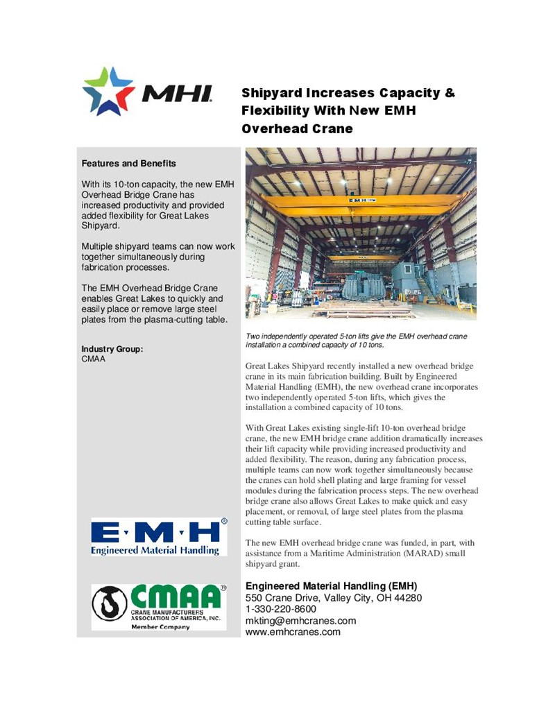 Shipyard Increases Capacity & Flexibility With New EMH Overhead Crane
