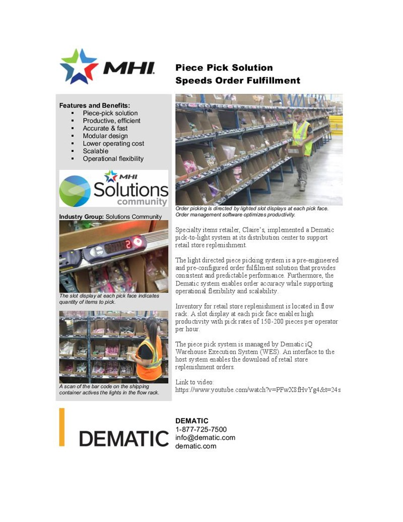 Piece Pick Solution Speeds Order Fulfillment