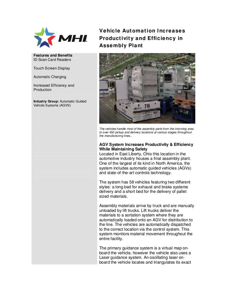 Vehicle Automation Increases Productivity and Efficiency in Assembly Plant