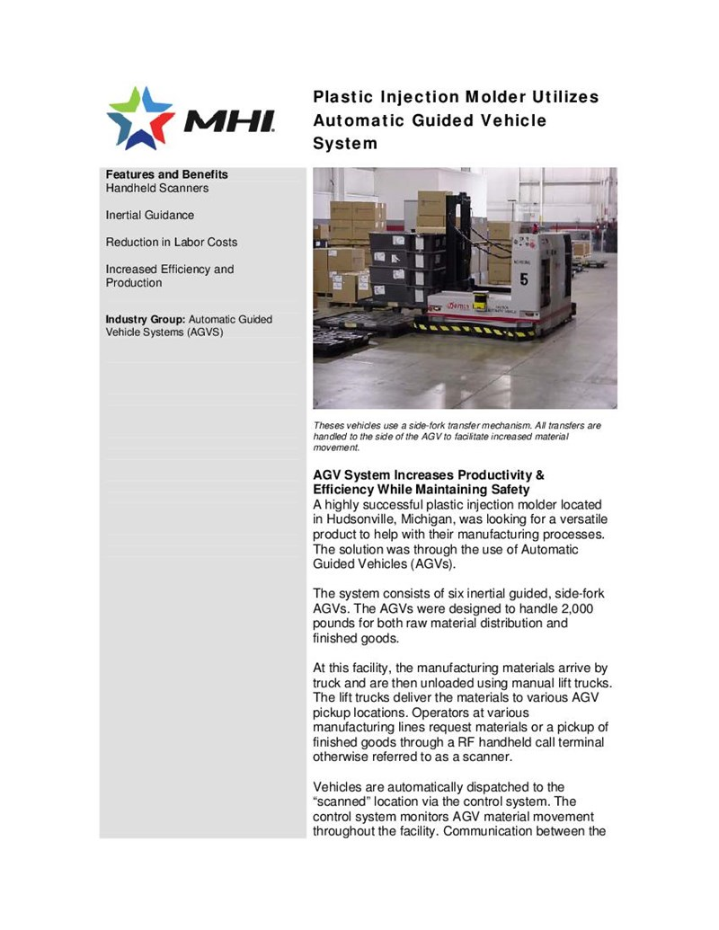 Plastic Injection Molder Utilizes Automatic Guided Vehicle System