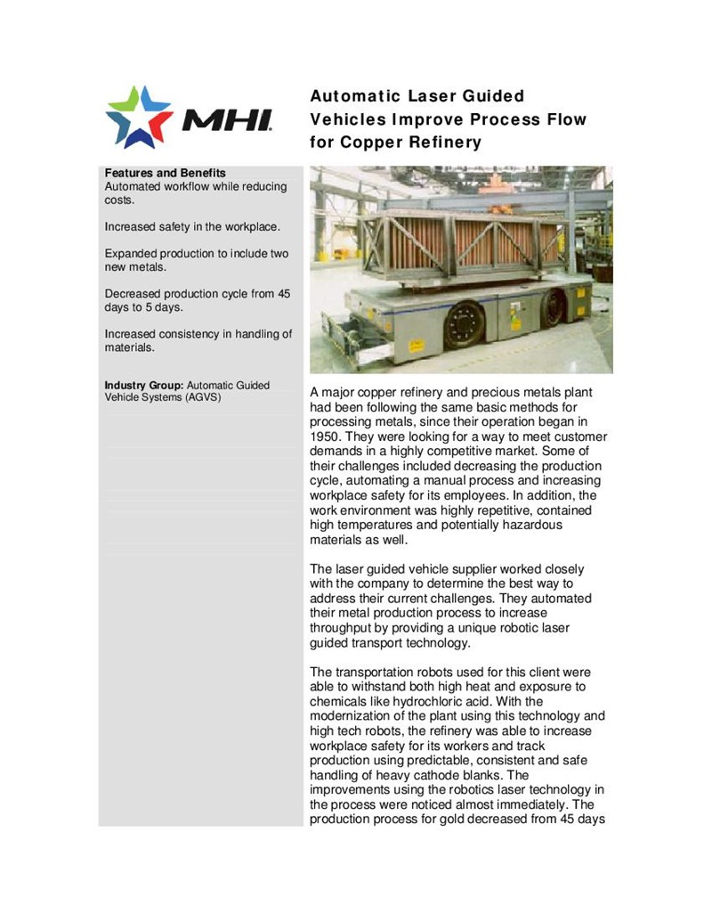 Automatic Laser Guided Vehicles Improve Process Flow for Copper Refinery