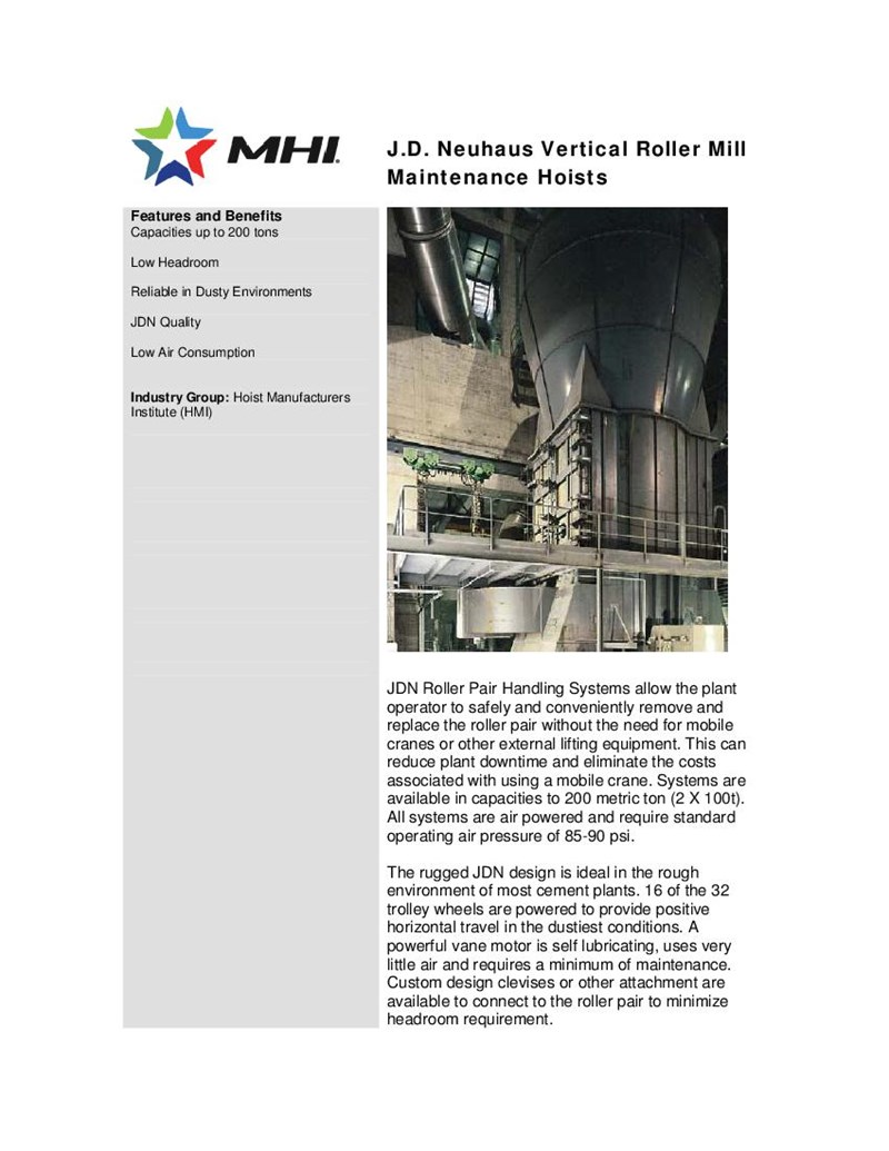 J.D. Neuhaus Vertical Roller Mill Maintenance Hoists Cranes or Other External Lifing
