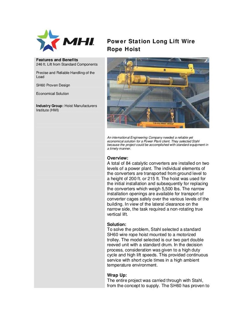 Power Station Long Lift Wire Rope Hoist Hoist