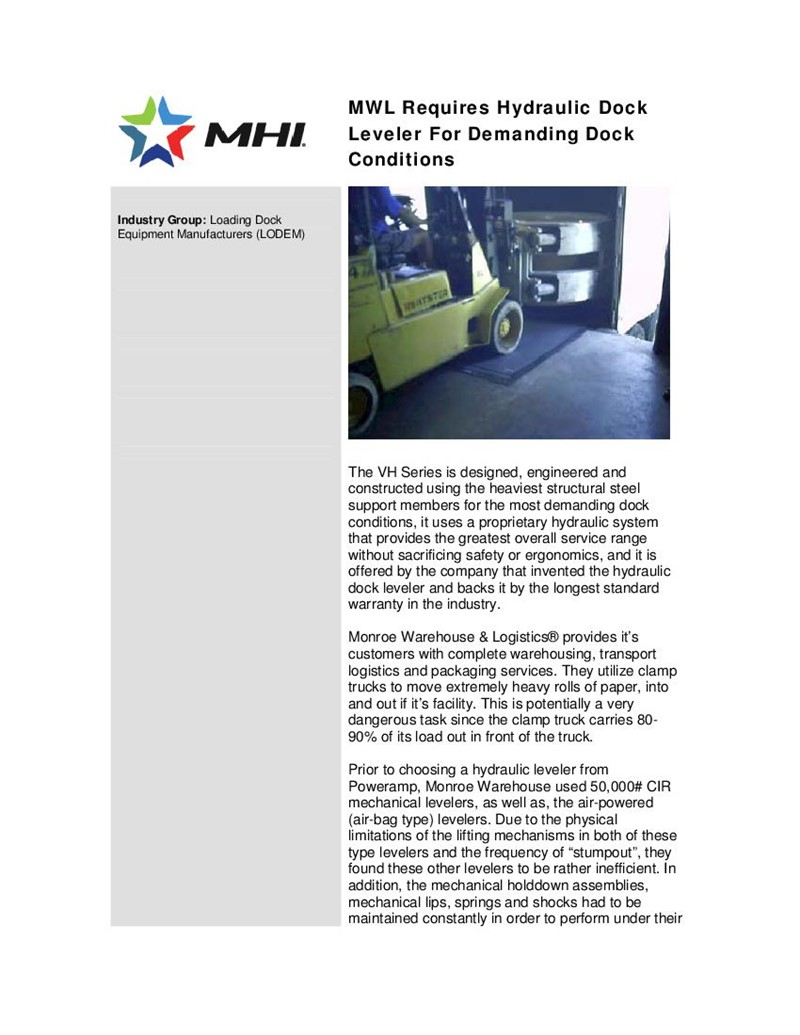 MWL Requires Hydraulic Dock Leveler For Demanding Dock Conditions