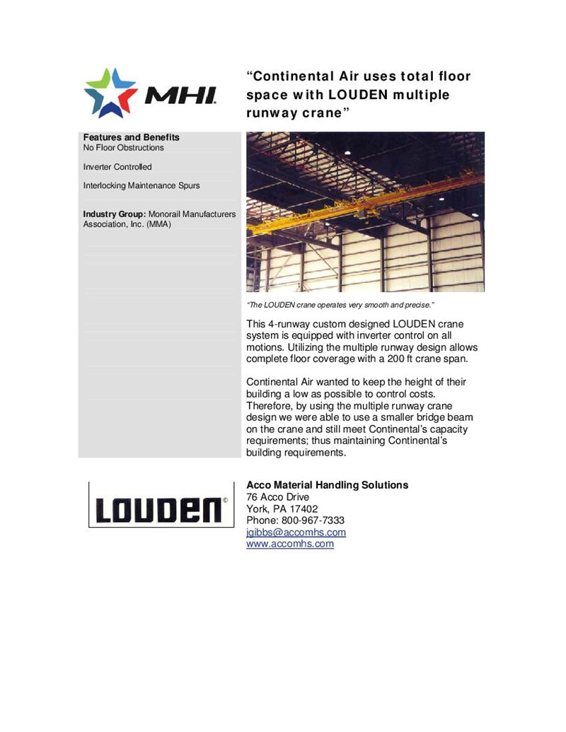 Continental Air Uses Total Floor Space With LOUDEN Multiple Runway Crane