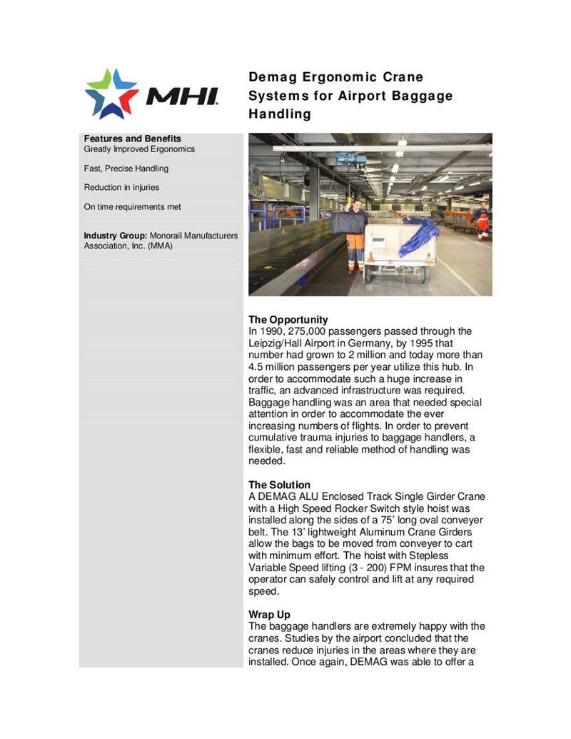 Demag Ergonomic Crane Systems for Airport Baggage Handling