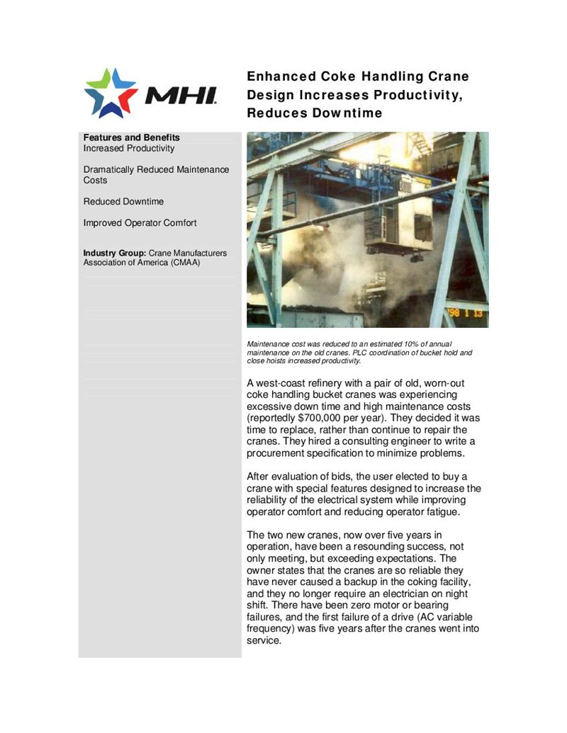 Enhanced Coke Handling Crane Design Increases Productivity, Reduces Downtime