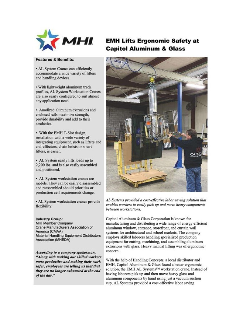 EMH Lifts Ergonomic Safety at Capitol Aluminum & Glass