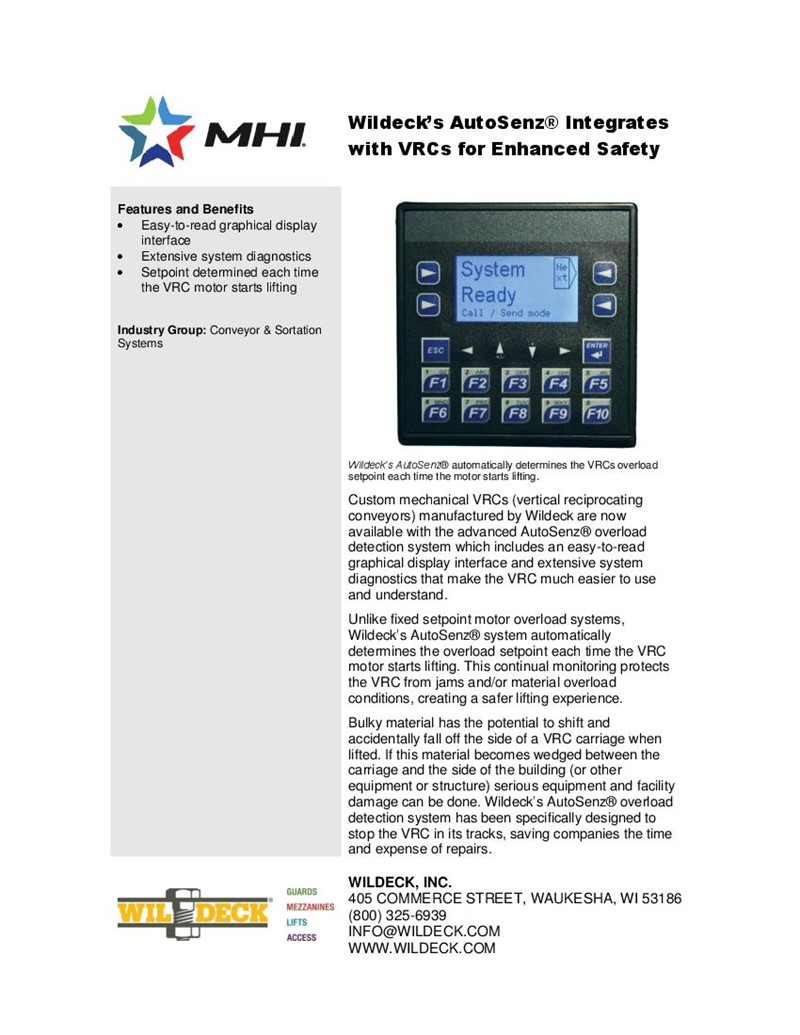 Wildeck's AutoSenz® Integrates with VRCs for Enhanced Safety