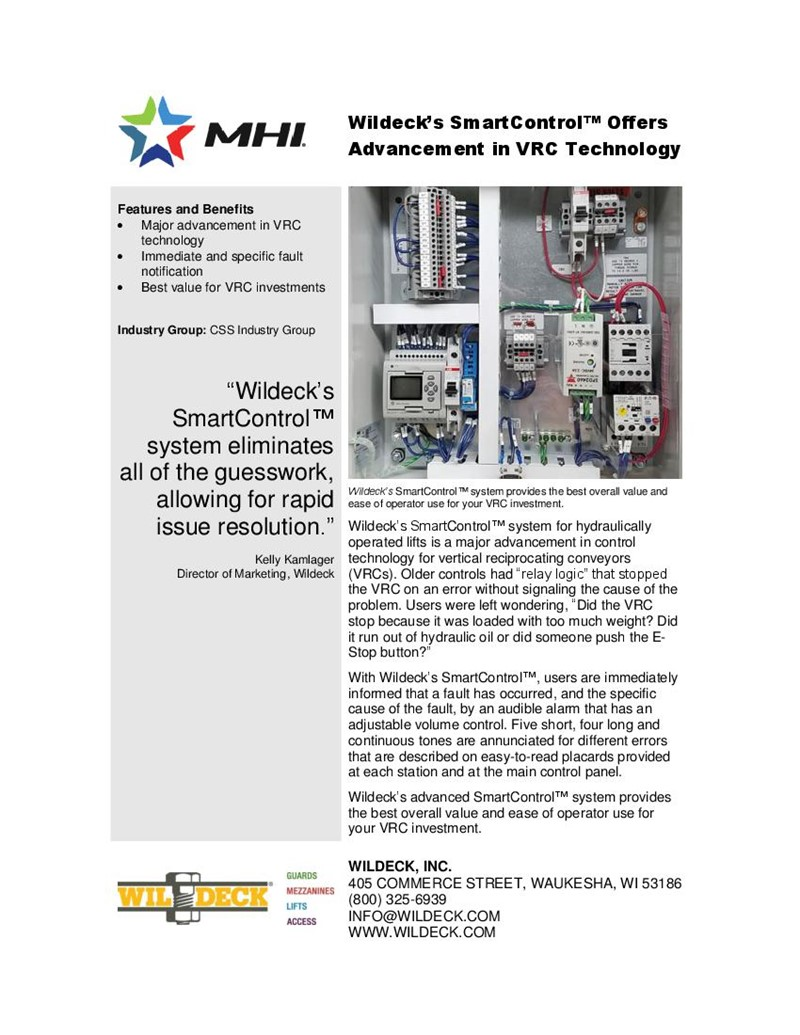 Wildeck's SmartControl™ Offers Advancement in VRC Technology