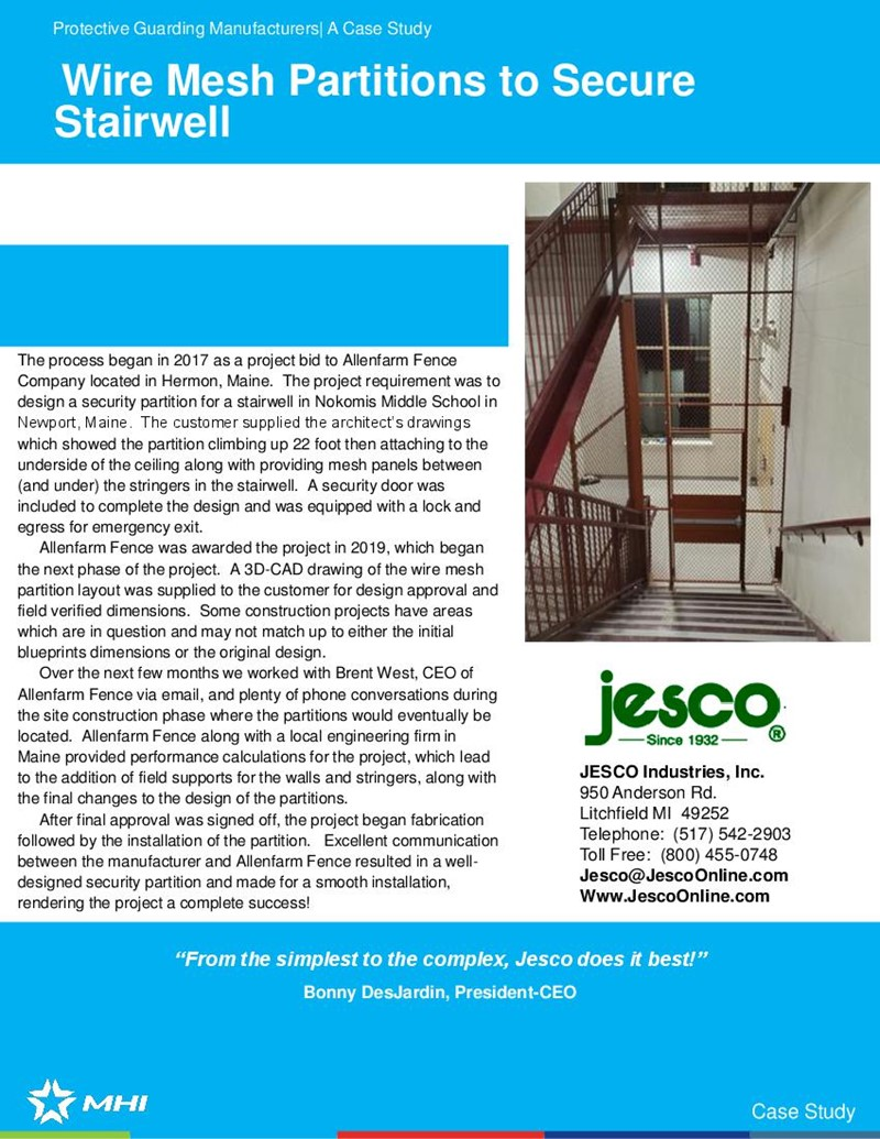 Wire Mesh Partitions to Secure Stairwell