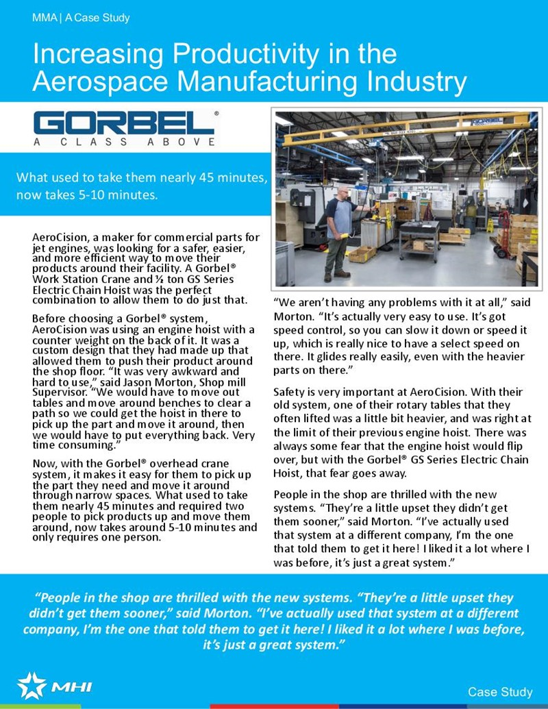 Increasing Productivity in the Aerospace Manufacturing Industry