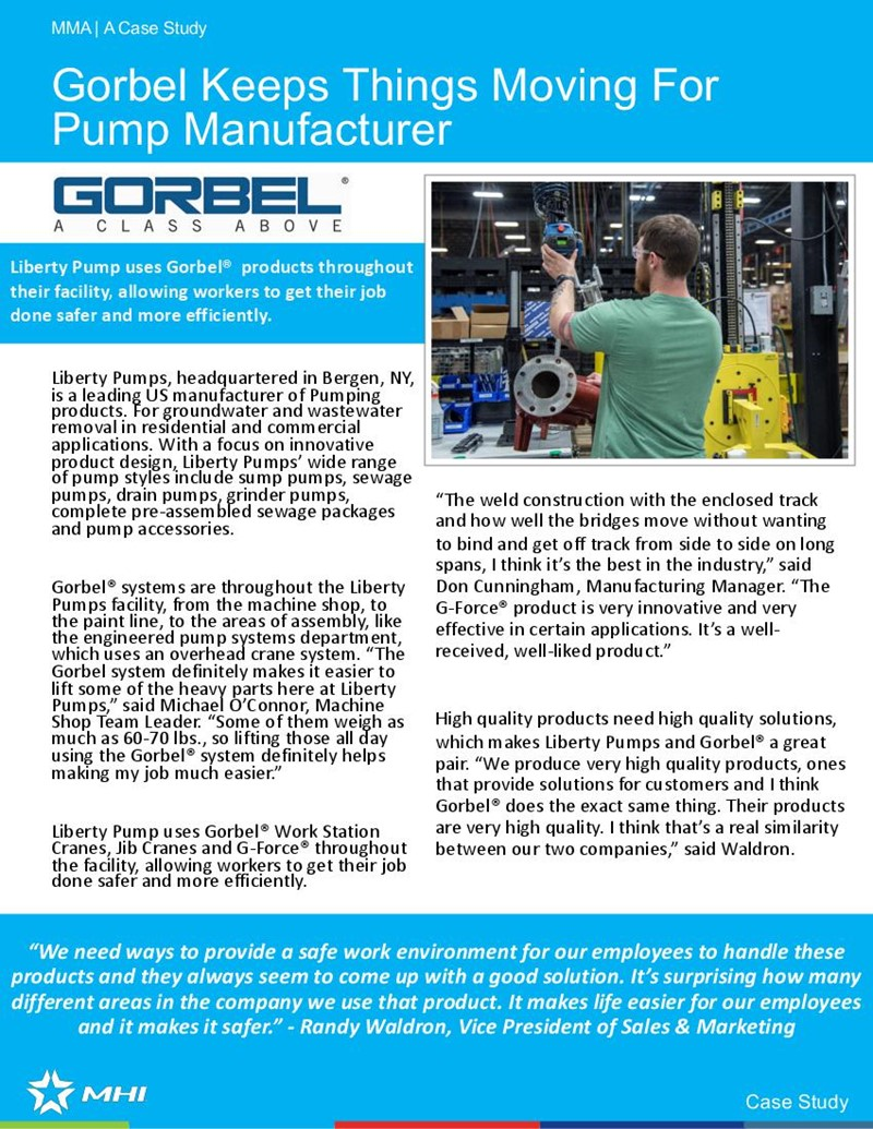 Gorbel Keeps Things Moving For Pump Manufacturer