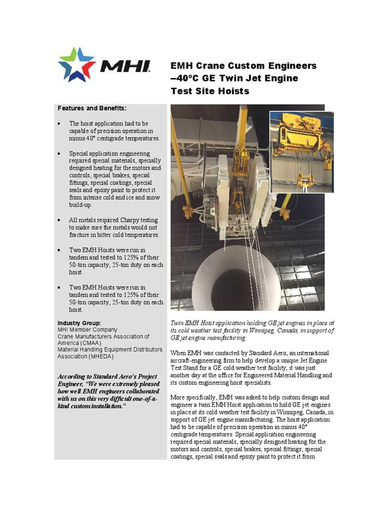 EMH Crane Custom Engineers --40ºC GE Twin Jet Engine Test Site Hoists