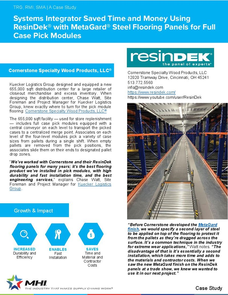 Systems Integrator Saved Time and Money Using ResinDek® with MetaGard® Steel Flooring Panels for Full Case Pick Modules