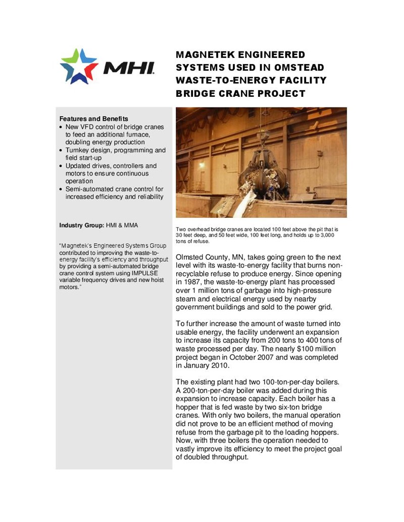 Magnetek Engineered Systems Used in Omstead Waste-To-Energy Facility  Bridge Crane Project