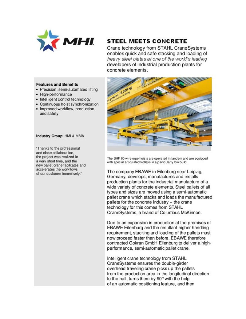 Steel Meets Concrete: STAHL CraneSystems Technology Used in One of World's Leading Production Plants for Concrete Elements