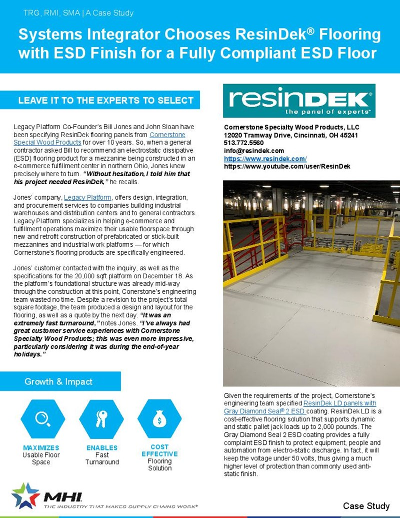 Systems Integrator Chooses ResinDek® for a Fully Compliant ESD Floor