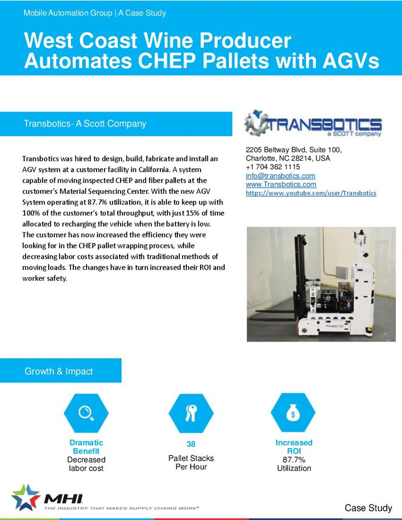 West Coast Wine Producer Automates CHEP Pallets with AGVs